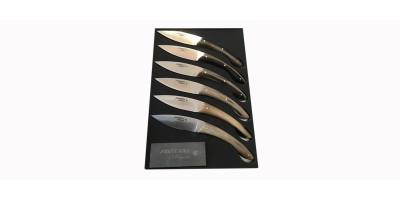 Coffret de 6 Ariégeois de table corne blonde