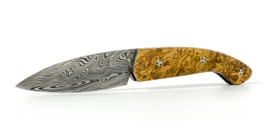 Ariegeois folding knife with olive burl handle system with olive burl handle