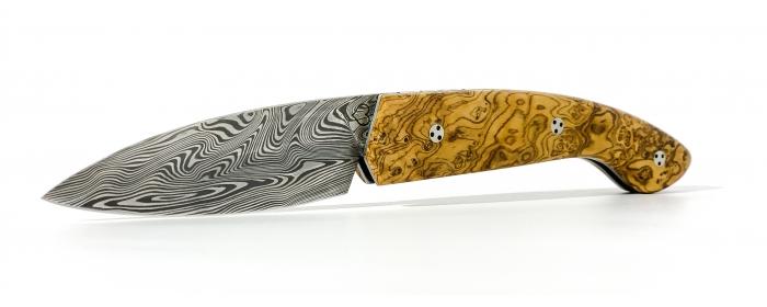 Couteau Ariégeois cran plat loupe d'olivier