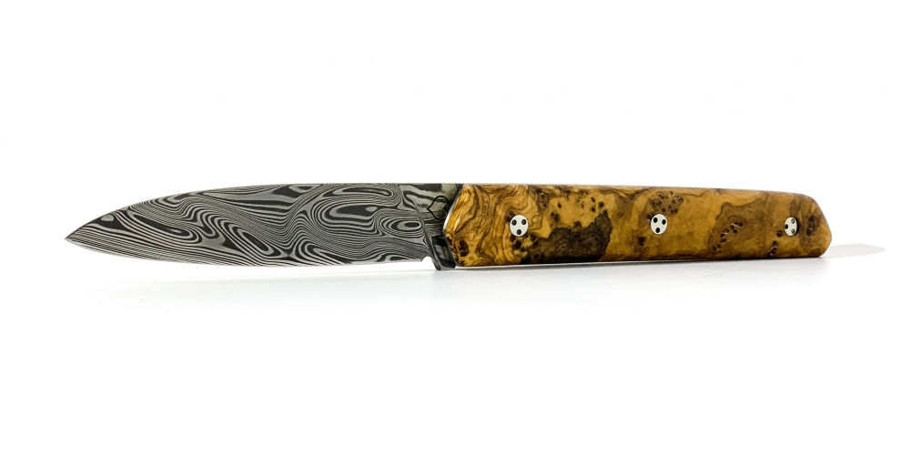 Couteau le montagnol loupe d'olivier lame Damas (photo non contractuelle)