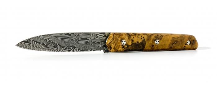 Couteau le Montagnol cran plat loupe d'olivier