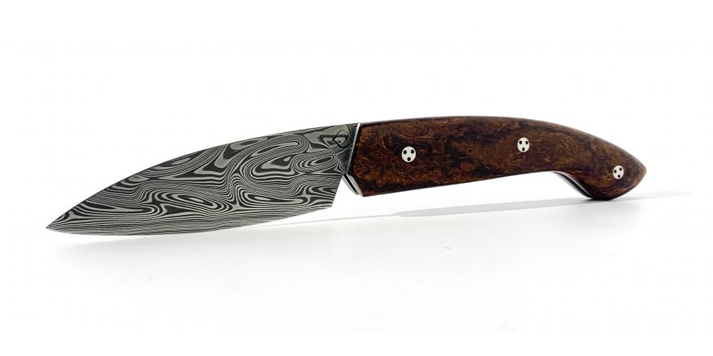 Couteau Ariégeois pliant cran plat bois de fer de l'Arizona Lame Damasteel