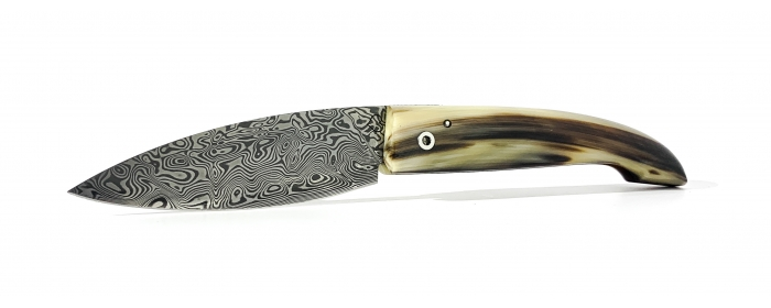 L'ariégeois folding knife blond horn and damasteel blade