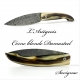 L'ariégeois folding knife blonde horn handle damasteel blade